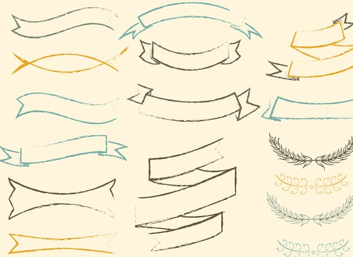 free sketchy vector ribbons set