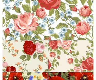 Dark Floral Patterns Vector
