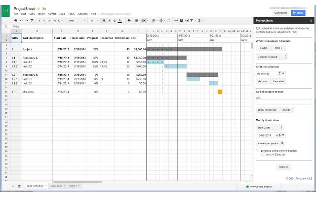 ProjectSheet project planning