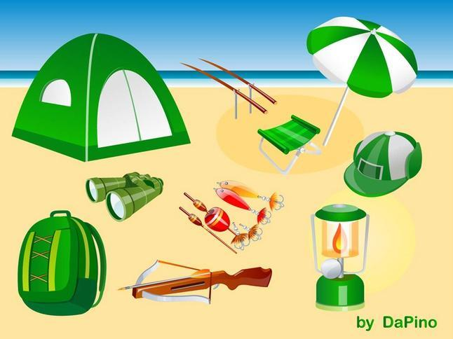 camping hunting and fishing vector pack