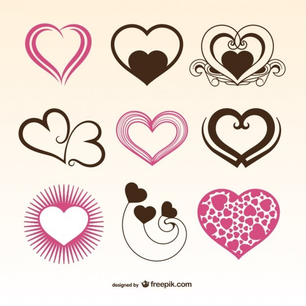 Romantic Valentine Hearts Free Vector