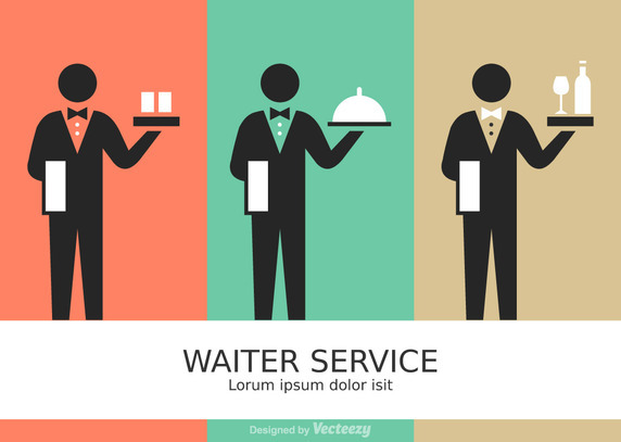 Free Vector Waiter Service Stick Figure Pictograms