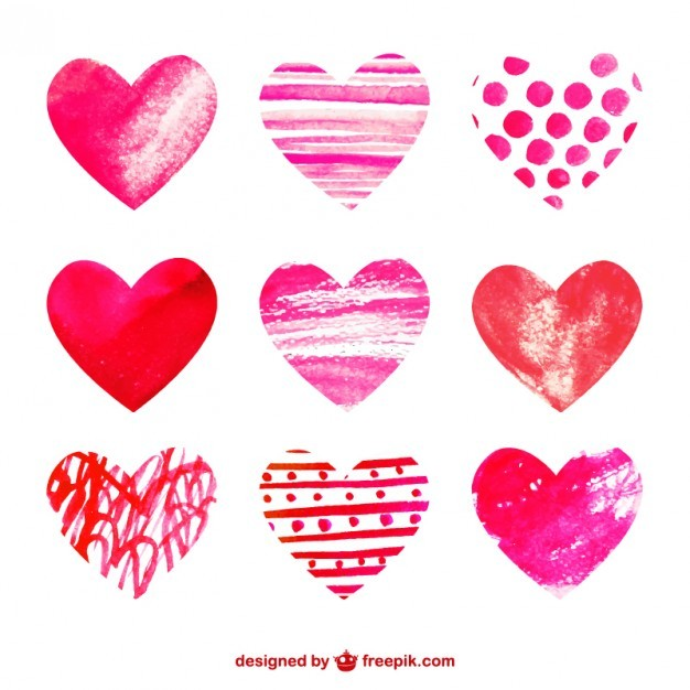 Watercolor Hearts Collection Free Vector