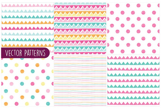 colorful sketchy pattern vector set