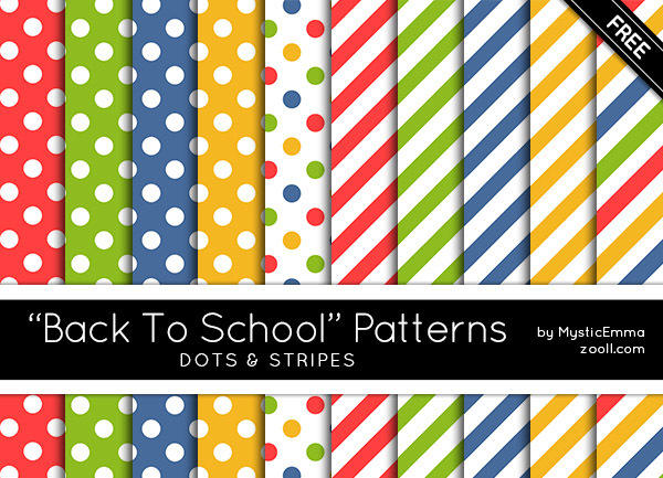 "GOODIES: ""BACK TO SCHOOL"" DOTS & STRIPES PATTERNS"