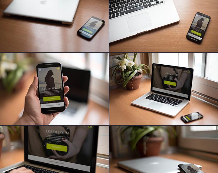 7 Smartphone + Macbook PSD mockups