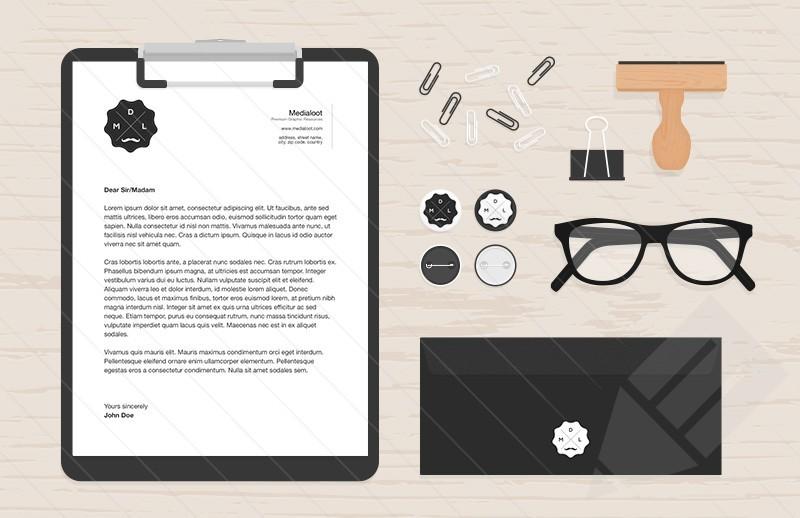 Flat Stationery & Desk Items Mockup