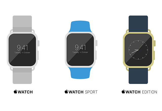 Flat Apple Watch Mockups