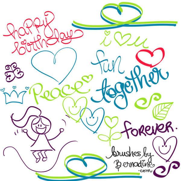 cute happy doodle brush set