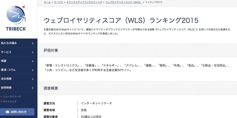 ウェブロイヤリティスコア(WLS)ランキング2015