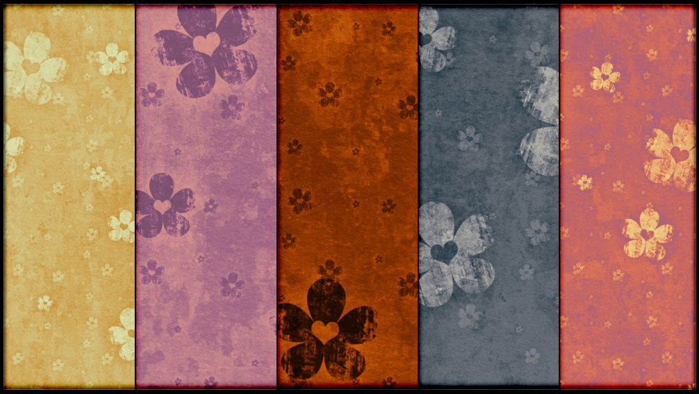 Grungy Hearts and Flowers Patterns