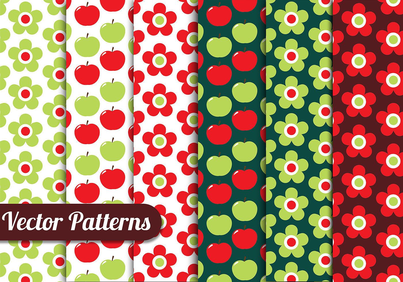 Apple Floral Pattern Set