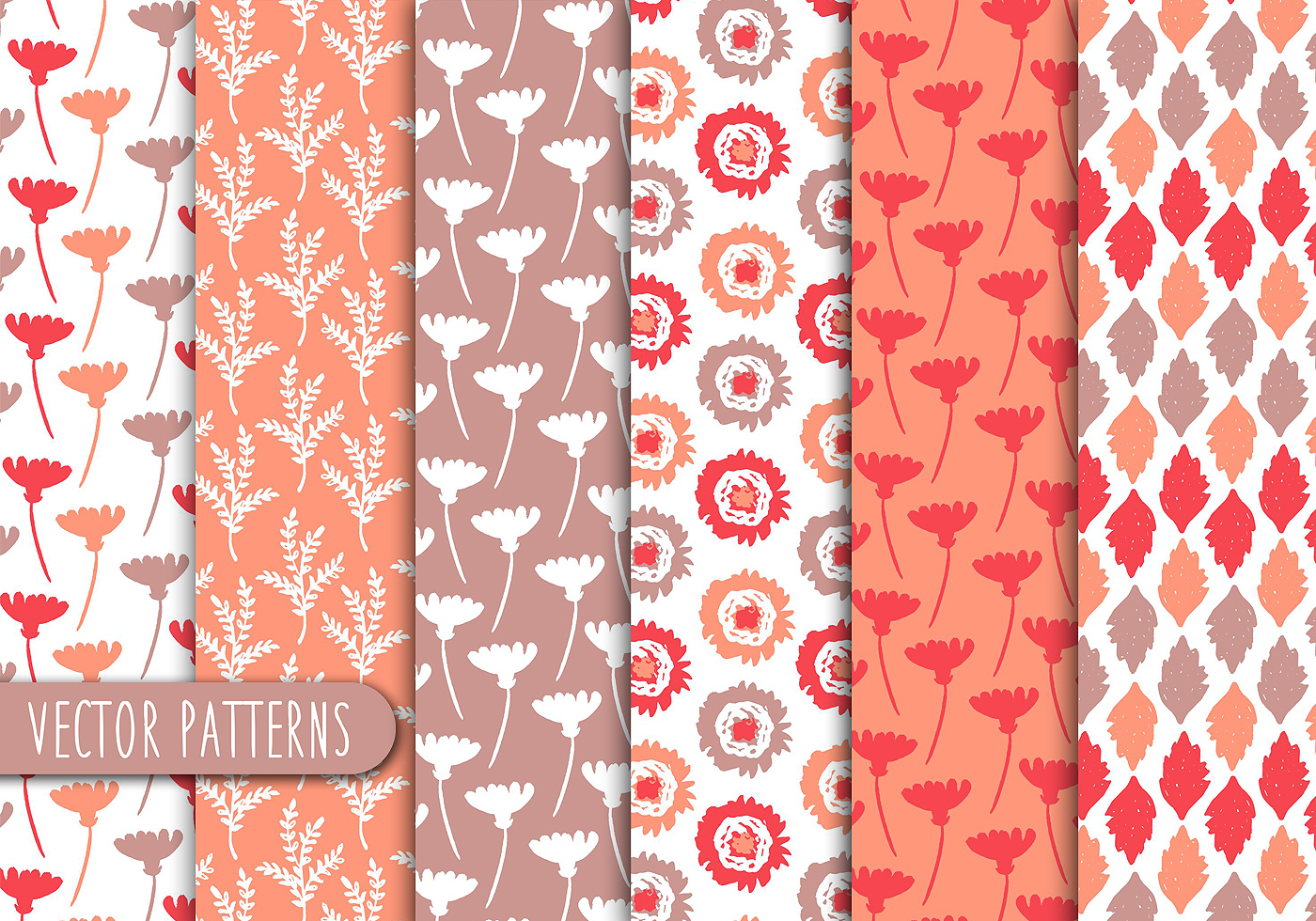 Pastel Red Floral Pattern Set
