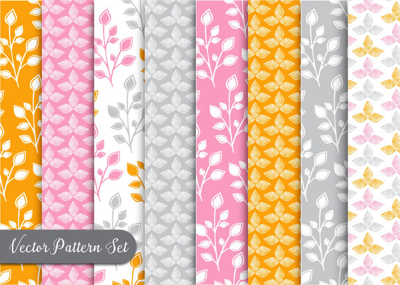 Orange Flora Pattern Vector Set