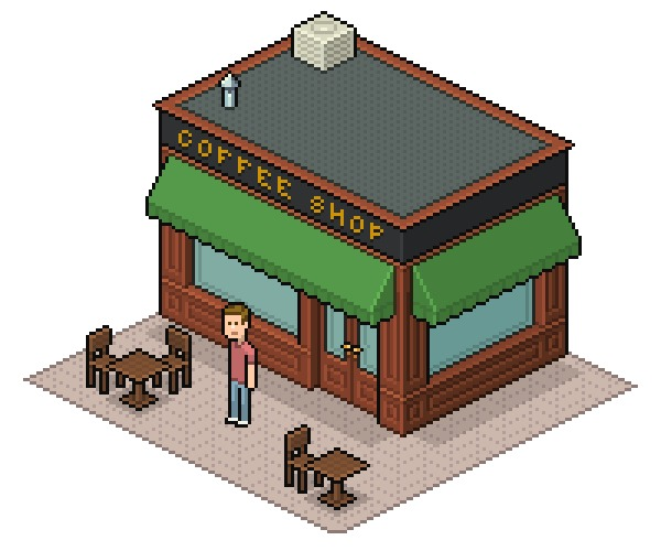 コーヒー店のイラストをピクセルドットで表現する方法