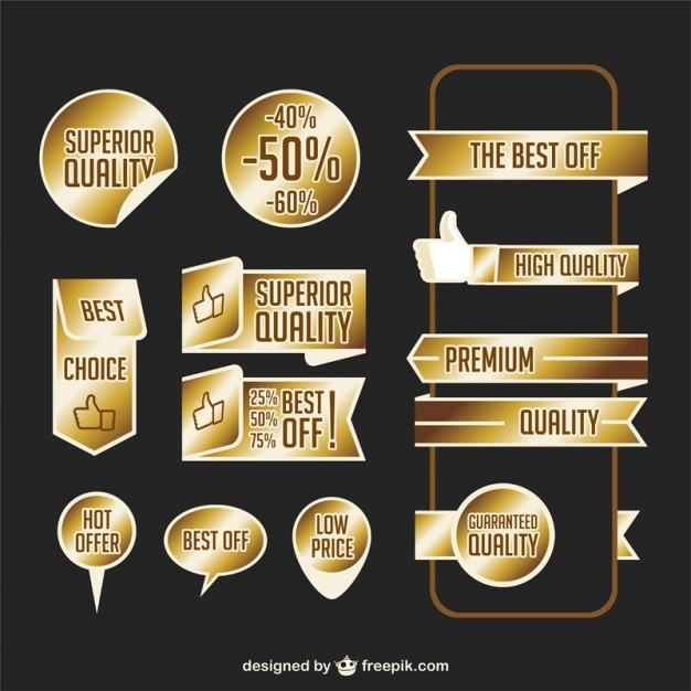Premium Golden Ribbons Free Vector