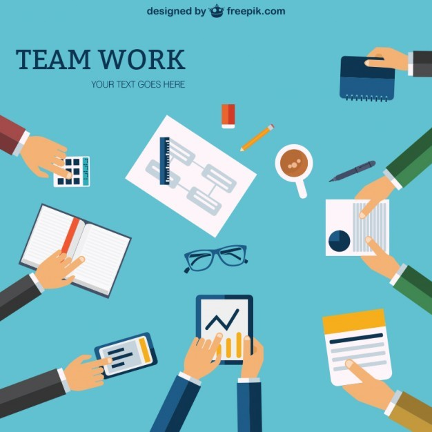 Team Work Template Free Vector