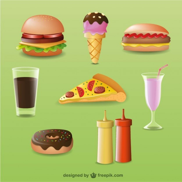 3D Food Designs Free Vector