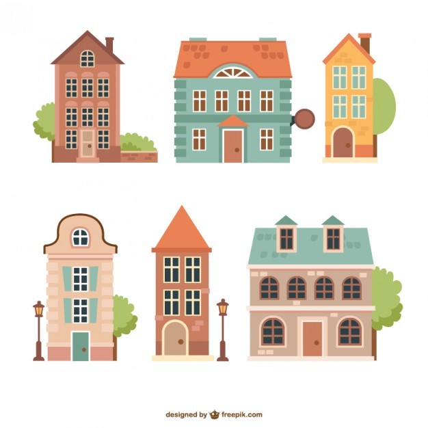Vintage Houses Pack Free Vector