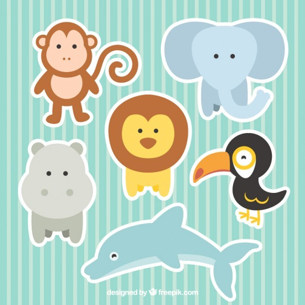 Cute Zoo Animals Collection Free Vecto