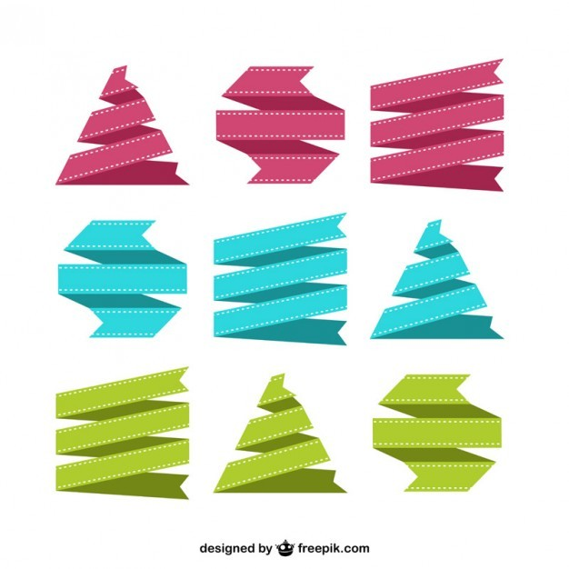 Colorful Ribbons Set Free Vector