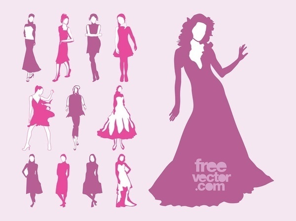 Fashion Models Set Free Vector