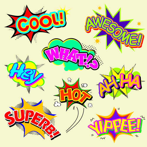Explosion style speech bubbles vector material 05