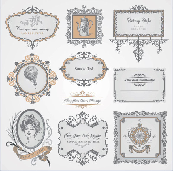 Vintage Pattern labels vector set 03