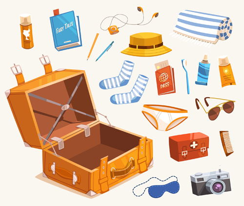 Cartoon travel objects set vector 04