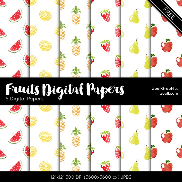 Fruits Digital Papers
