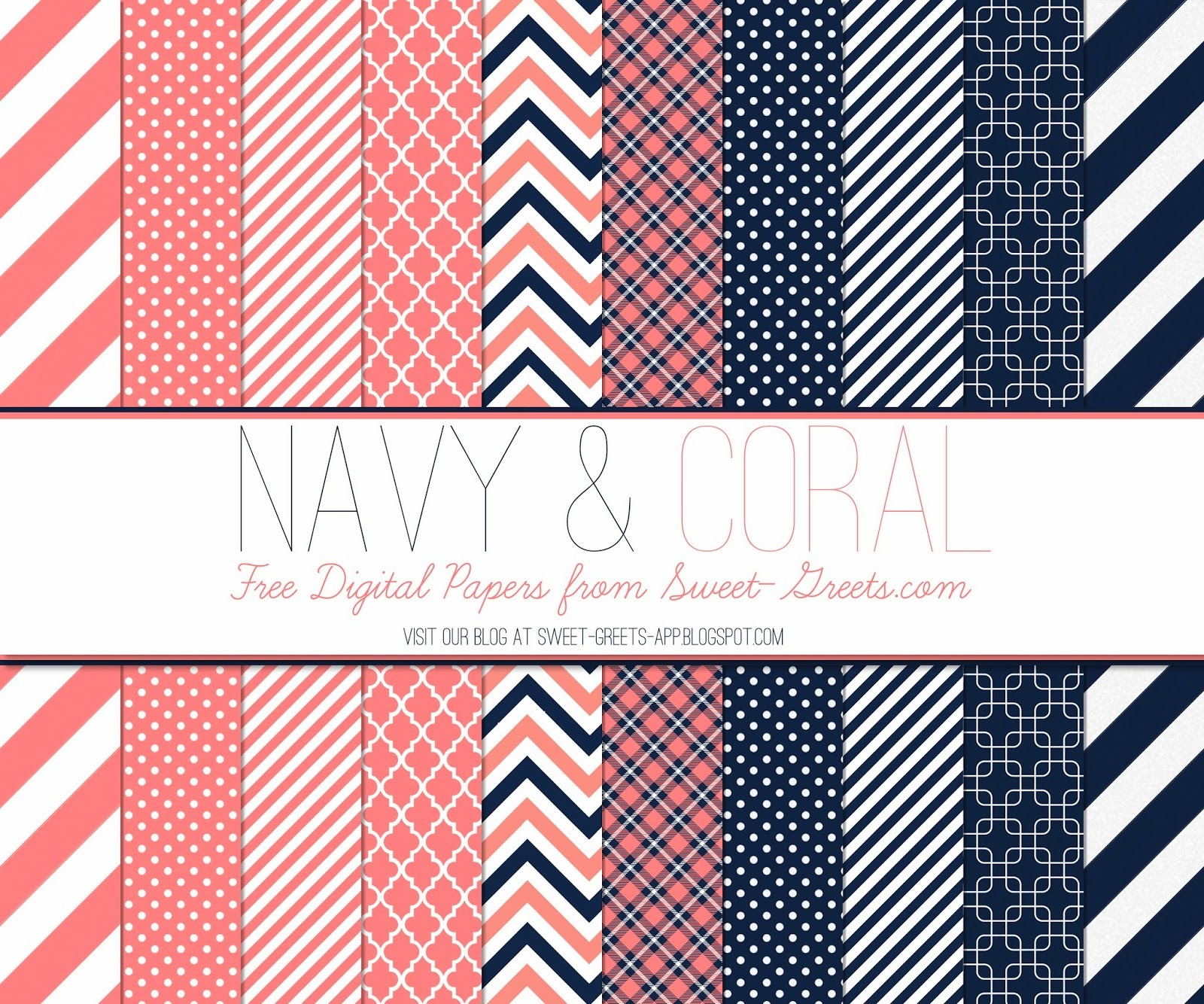 Navy and Coral Digital Paper