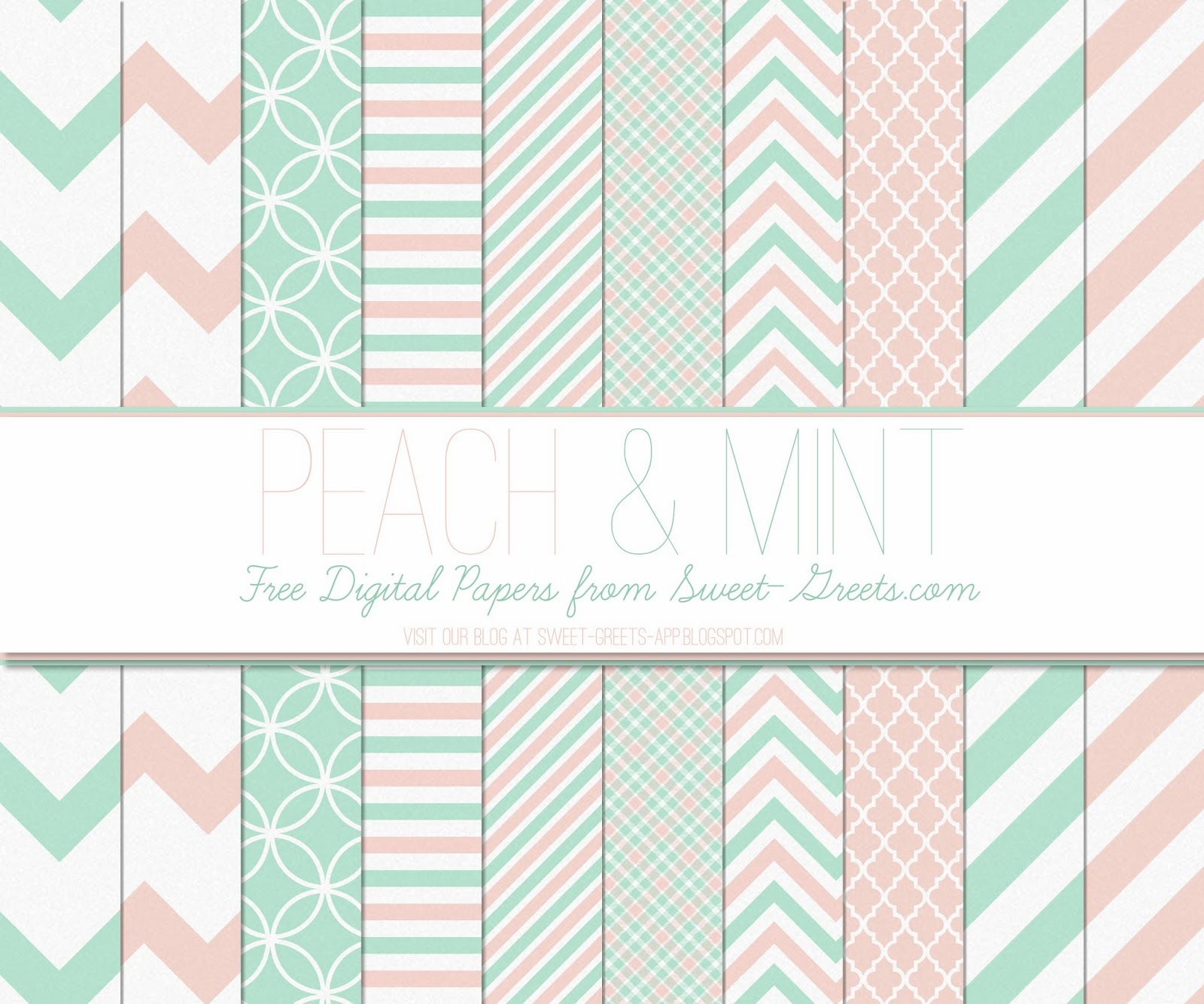 Free Digital Papers: Peach and Mint