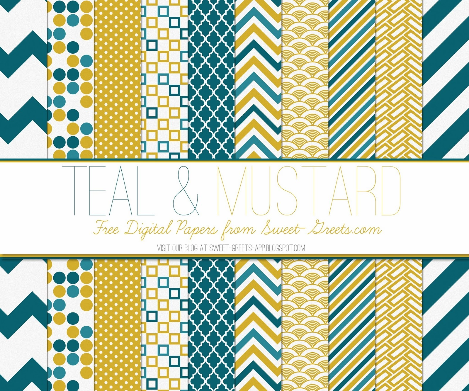 Free Digital Paper: Mustard and Teal