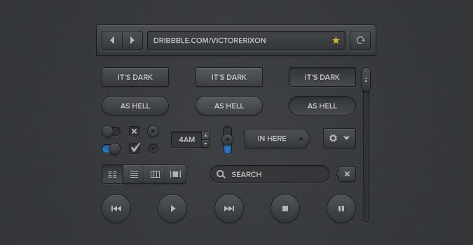 Dark UI Kit (PSD)