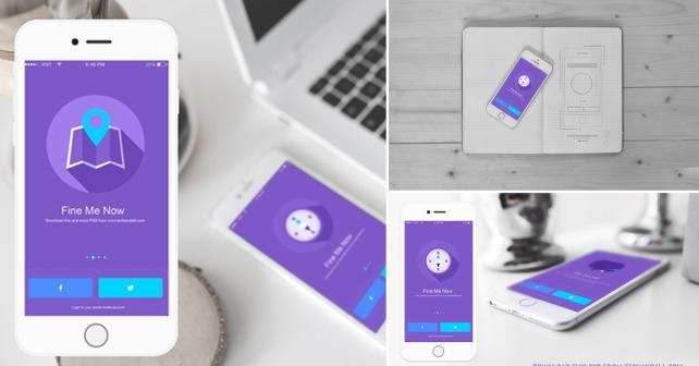 iOS App Showcase Mockup PSD