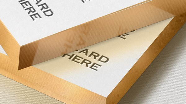 Gold Edge Letterpress Business Card Mock-up