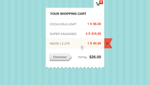 Shopping Cart Modal Window PSD