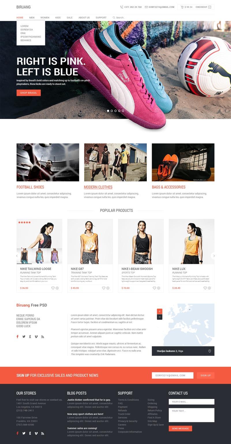 Biruang – Free PSD Website Template
