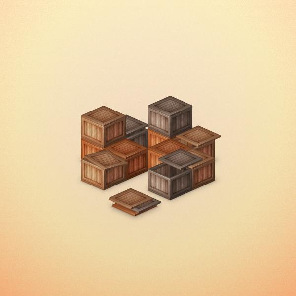 木製ボックスを積み上げたイラストを描く方法