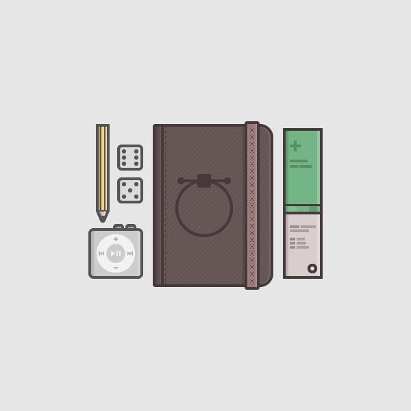 文具のイラストをフラットスタイルに描く方法