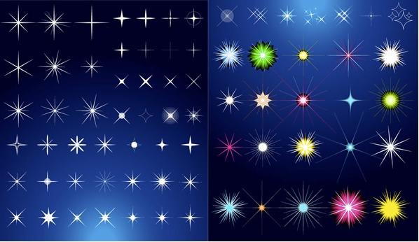 光り輝くキラキラ星マークのイラスト無料ベクター(ai)素材