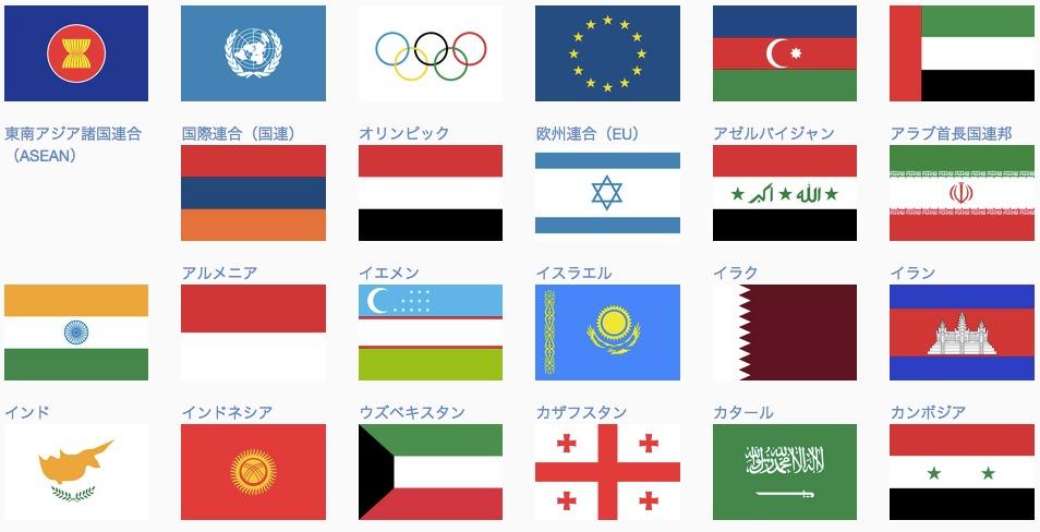 国旗などの一覧