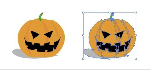 かぼちゃをくりぬいたお化け ハロウィン素材