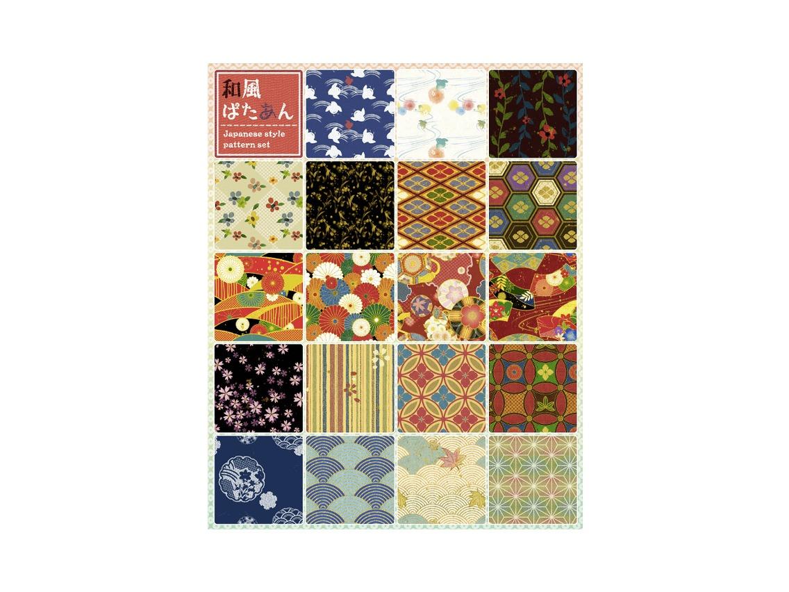 千代紙などの艶やかな日本柄を使ったパターン素材「和風ぱたあん」