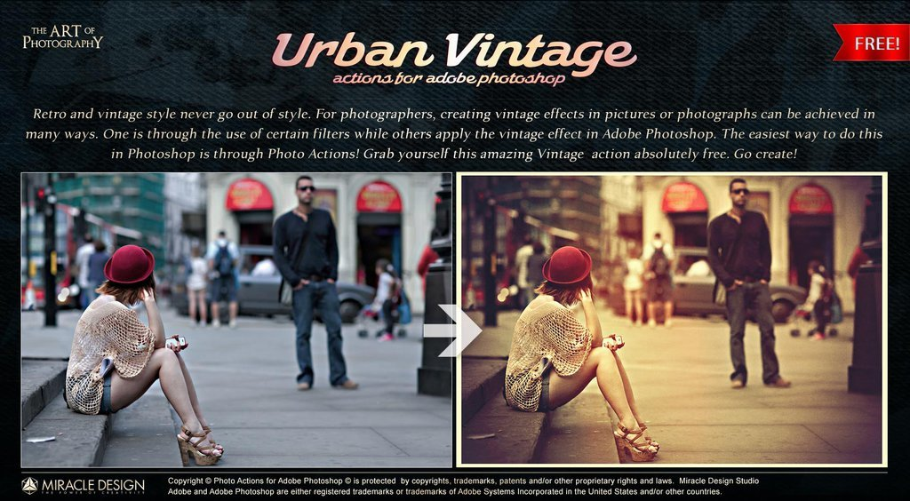 Urban Vintage Action for Photoshop