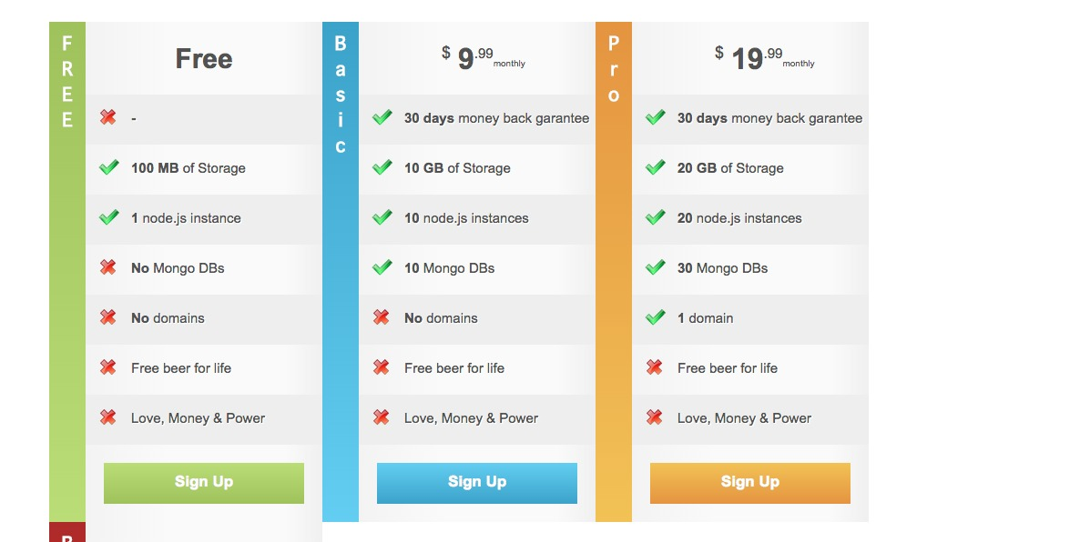 Free Pricing Tables Using CSS3