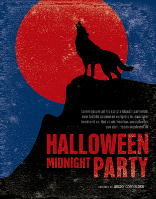Vintage Halloween Wolf Party Poster