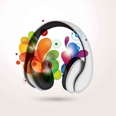 Headphone with Colorful Swirls