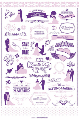 Wedding invitation graphic set