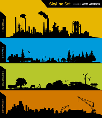 skyline silhouettes - Industrial, Park, Conuntryside and Harbor